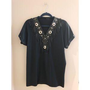 VINTAGE Black Knit T-Shirt W/ Western Fringe